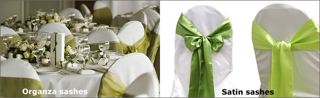Organza or satin chair sashes